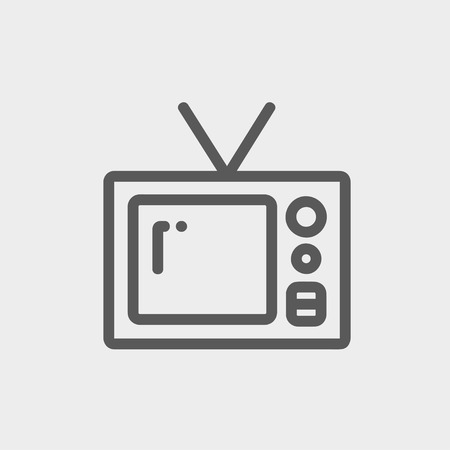 vintage television: Vintage television icon thin line for web and mobile, modern minimalistic flat design. Vector dark grey icon on light grey background. Illustration