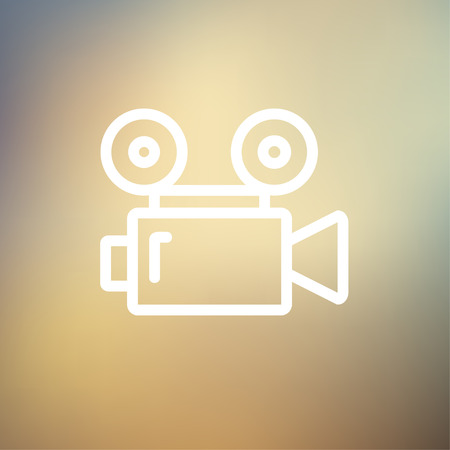 cinematography: Cinematography icon thin line for web and mobile, modern minimalistic flat design. Vector white icon on gradient mesh background. Illustration