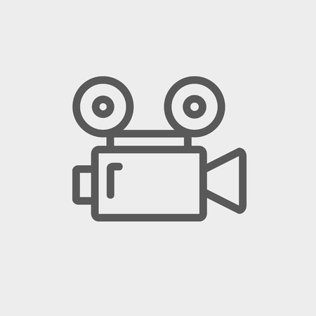 cinematography: Cinematography icon thin line for web and mobile, modern minimalistic flat design. Vector dark grey icon on light grey background. Illustration