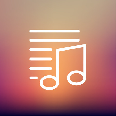 Musical note with lines icon thin line for web and mobile, modern minimalistic flat design. Vector white icon on gradient mesh background. Vector