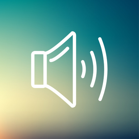 Speaker volume icon thin line for web and mobile, modern minimalistic flat design. Vector white icon on gradient mesh background.