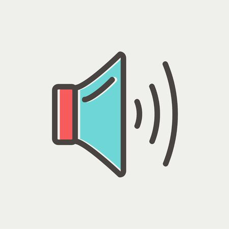 Speaker volume icon thin line for web and mobile, modern minimalistic flat design. Vector icon with dark grey outline and offset colour on light grey background.