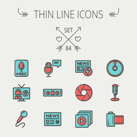 vintage mic: Multimedia thin line icon set for web and mobile. Set includes -vintage mic, car stereo, news, station, news report, tv, camera shutter, media player, Cd, film roll  icons. Modern minimalistic flat design. Vector icon with dark grey outline and offset col Illustration