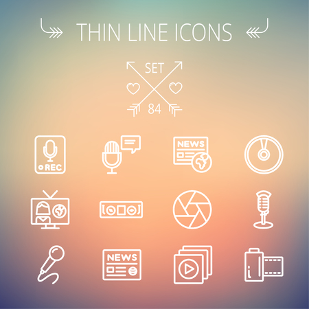 vintage mic: Multimedia thin line icon set for web and mobile. Set includes- vintage mic, car stereo, news, station, news report, tv, camera shutter, media player, Cd, film roll icons. Modern minimalistic flat design. Vector white icon on gradient mesh background.