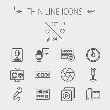 multimedia background: Multimedia thin line icon set for web and mobile. Set includes- vintage mic, car stereo, news, station, news report, tv, camera shutter, media player, Cd, film roll icons. Modern minimalistic flat design. Vector dark grey icon on light grey background. Illustration