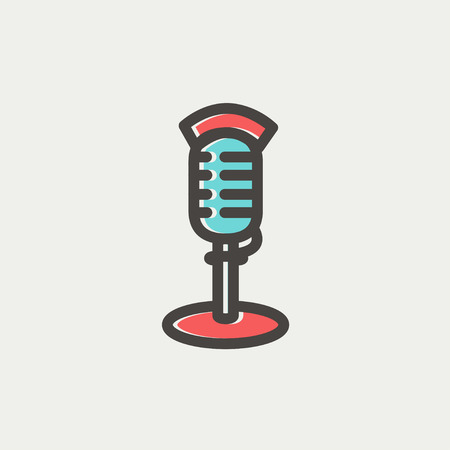 hi fi: On air microphone icon thin line for web and mobile, modern minimalistic flat design. Vector icon with dark grey outline and offset colour on light grey background.