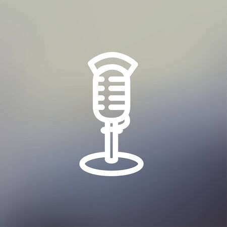 hi fi: On air microphone icon thin line for web and mobile, modern minimalistic flat design. Vector white icon on gradient mesh background.