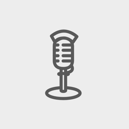 hi fi: On air microphone icon thin line for web and mobile, modern minimalistic flat design. Vector dark grey icon on light grey background. Illustration