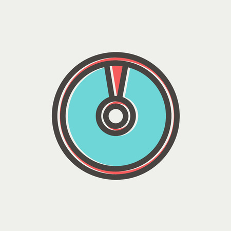 CD or DVD icon thin line for web and mobile, modern minimalistic flat design. Vector icon with dark grey outline and offset colour on light grey background.