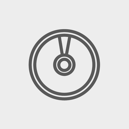 CD or DVD icon thin line for web and mobile, modern minimalistic flat design. Vector dark grey icon on light grey background.
