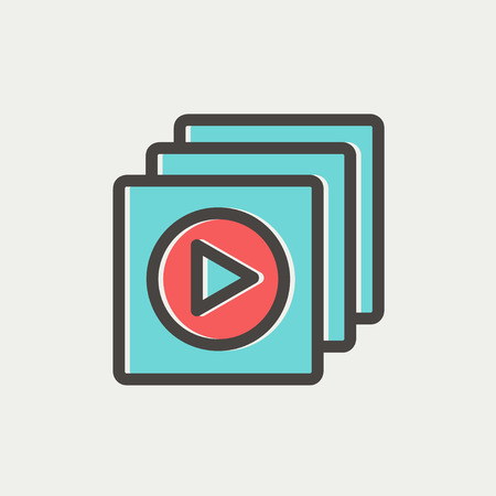 users video: Media player icon thin line for web and mobile, modern minimalistic flat design. Vector icon with dark grey outline and offset colour on light grey background. Illustration