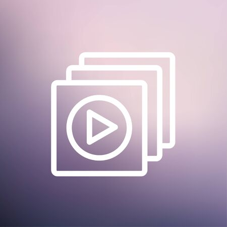 users video: Media player icon thin line for web and mobile, modern minimalistic flat design. Vector white icon on gradient mesh background.