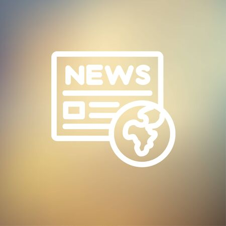 Global news icon thin line for web and mobile, modern minimalistic flat design. Vector white icon on gradient mesh background. Ilustração