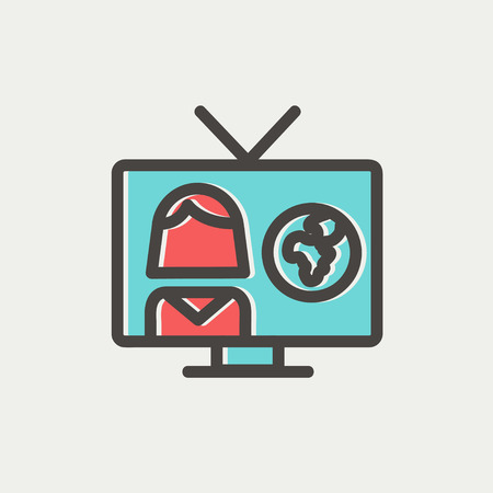 news update: Tv weather reporter icon thin line for web and mobile, modern minimalistic flat design. Vector icon with dark grey outline and offset colour on light grey background.