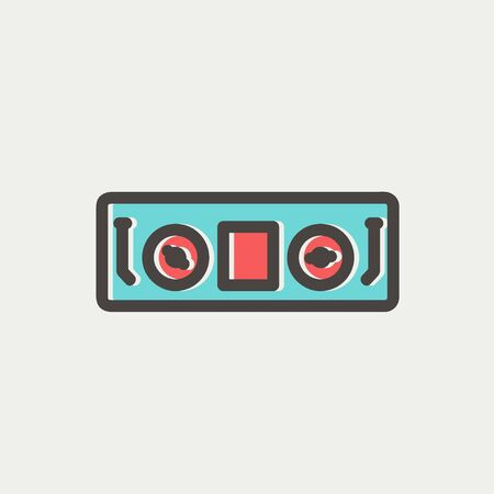 DJ console icon thin line for web and mobile, modern minimalistic flat design. Vector icon with dark grey outline and offset colour on light grey background. Ilustração