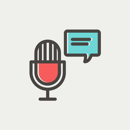 commentator: Microphone with speech bubble icon thin line for web and mobile, modern minimalistic flat design. Vector icon with dark grey outline and offset colour on light grey background.