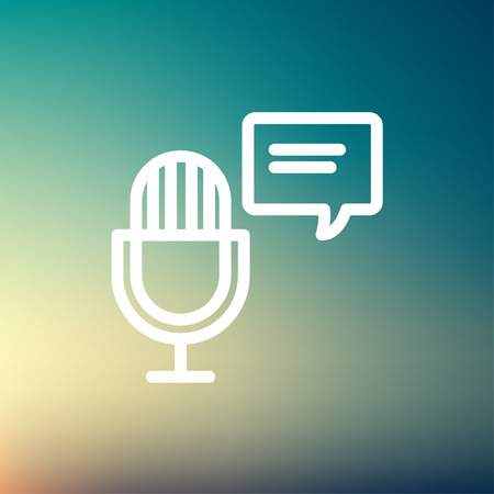 Microphone with speech bubble icon thin line for web and mobile, modern minimalistic flat design. Vector white icon on gradient mesh background. Çizim