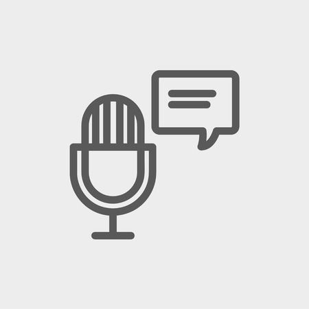 conference presentation: Microphone with speech bubble icon thin line for web and mobile, modern minimalistic flat design. Vector dark grey icon on light grey background. Illustration