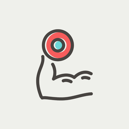 Arm muscle with dumbbell in hand icon thin line for web and mobile, modern minimalistic flat design. Vector icon with dark grey outline and offset colour on light grey background.