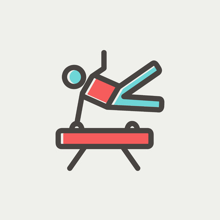 pommel: Gymnast on pommel horse icon thin line for web and mobile, modern minimalistic flat design. Vector icon with dark grey outline and offset colour on light grey background.