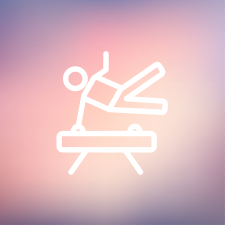 Gymnast on pommel horse icon thin line for web and mobile, modern minimalistic flat design. Vector white icon on gradient mesh background.