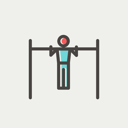 over the shoulder: Pull up exercise in bar icon thin line for web and mobile, modern minimalistic flat design. Vector icon with dark grey outline and offset colour on light grey background. Illustration