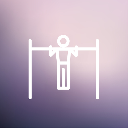 muscularity: Pull up exercise in bar icon thin line for web and mobile, modern minimalistic flat design. Vector white icon on gradient mesh background.