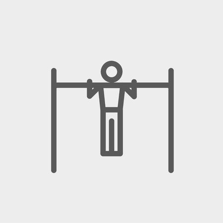 over the shoulder: Pull up exercise in bar icon thin line for web and mobile, modern minimalistic flat design. Vector dark grey icon on light grey background. Illustration