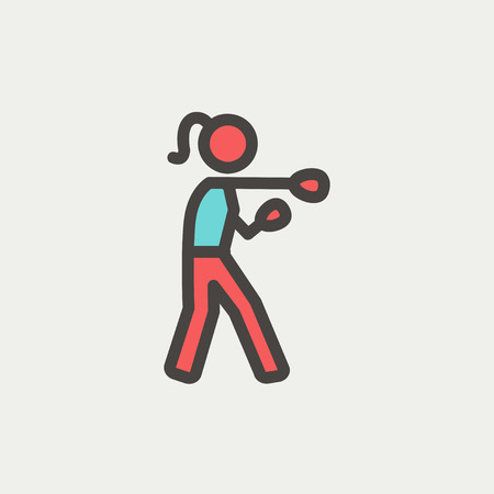 physically: Female boxer icon thin line for web and mobile, modern minimalistic flat design. Vector icon with dark grey outline and offset colour on light grey background.