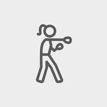 physically: Female boxer icon thin line for web and mobile, modern minimalistic flat design. Vector dark grey icon on light grey background.