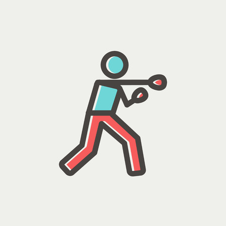 brave of sport: Boxing man punch icon thin line for web and mobile, modern minimalistic flat design. Vector icon with dark grey outline and offset colour on light grey background. Illustration
