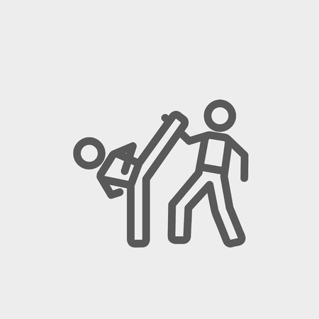 Karate fighters icon thin line for web and mobile, modern minimalistic flat design. Vector dark grey icon on light grey background.