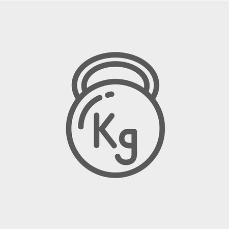Kettlebell icon thin line for web and mobile, modern minimalistic flat design. Vector dark grey icon on light grey background.