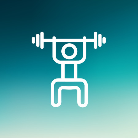 Weightlifter man with barbell icon thin line for web and mobile, modern minimalistic flat design. Vector white icon on gradient mesh background. Vector
