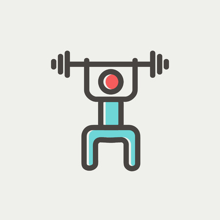 weightlifter: Weightlifter man with barbell icon thin line for web and mobile, modern minimalistic flat design. Vector icon with dark grey outline and offset colour on light grey background.