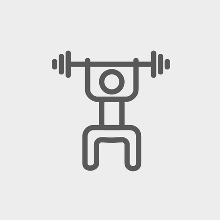 weightlifter: Weightlifter man with barbell icon thin line for web and mobile, modern minimalistic flat design. Vector dark grey icon on light grey background.