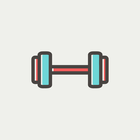 Dumbbell icon thin line for web and mobile, modern minimalistic flat design. Vector icon with dark grey outline and offset colour on light grey background.