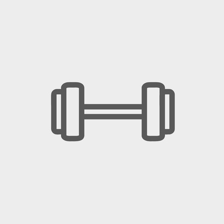 heavy load: Dumbbell icon thin line for web and mobile, modern minimalistic flat design. Vector dark grey icon on light grey background.