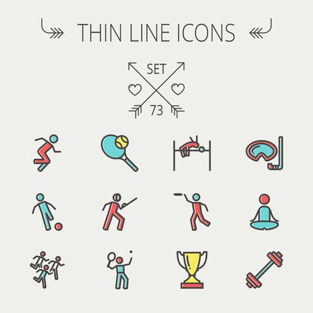 Sports thin line icon set for web and mobile. Set includes - fencing, tennis racket with ball, running, soccer, marathon, high jump, trophy, yoga, barbell, flying disc icons. Modern minimalistic flat design. Vector icon with dark grey outline and offset c Ilustração