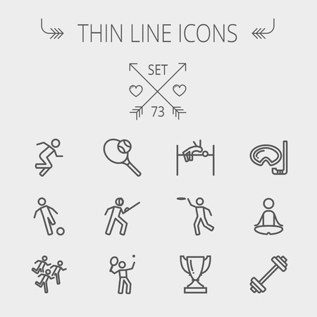web icons: Sports thin line icon set for web and mobile. Set includes- fencing, tennis racket with ball, running, soccer, marathon, high jump, trophy, yoga, barbell, flying disc icons. Modern minimalistic flat design. Vector dark grey icon on light grey background.