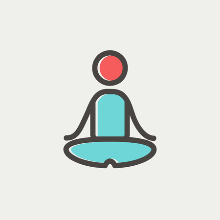 Yoga exercise icon thin line for web and mobile, modern minimalistic flat design. Vector icon with dark grey outline and offset colour on light grey background.