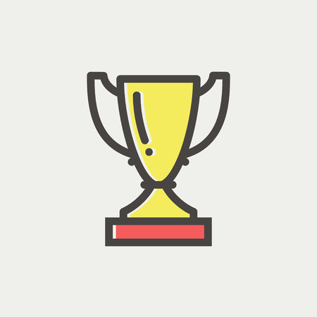 Trophy icon thin line for web and mobile, modern minimalistic flat design. Vector icon with dark grey outline and offset colour on light grey background.