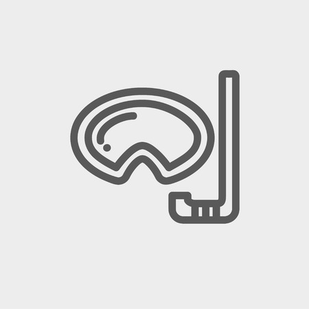 snorkelling: Mask and snorkel for snorkelling icon thin line for web and mobile, modern minimalistic flat design. Vector dark grey icon on light grey background.