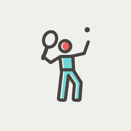 striker: Tennis player in serving position icon thin line for web and mobile, modern minimalistic flat design. Vector icon with dark grey outline and offset colour on light grey background. Illustration