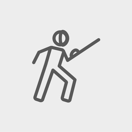 sward: Scherma sport icona linea sottile per il web e mobile, moderno design piatto minimalista. Vector grigio scuro icona su sfondo grigio chiaro.