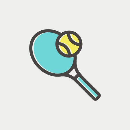 wimbledon: Tennis racket and ball icon thin line for web and mobile, modern minimalistic flat design. Vector icon with dark grey outline and offset colour on light grey background.