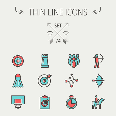 chess horse: Sports thin line icon set for web and mobile. Set includes -chess rook, target board, crosshair, shuttlecock, basketball hoop, bowling pins, stopwatch, archery, bow and arrow, horse riding icons. Modern minimalistic flat design. Vector icon with dark grey