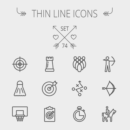 Sports thin line icon set for web and mobile. Set includes- chess rook, target board, crosshair, shuttlecock, basketball hoop, bowling pins, stopwatch, archery, bow and arrow, horse riding icons. Modern minimalistic flat design. Vector dark grey icon on l Vector