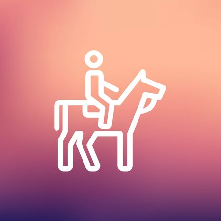 Horse riding icon thin line for web and mobile, modern minimalistic flat design. Vector white icon on gradient mesh background.