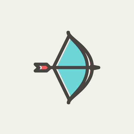 longshot: Bow and arrow icon thin line for web and mobile, modern minimalistic flat design. Vector icon with dark grey outline and offset colour on light grey background.